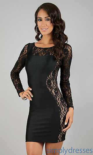 Dress, Short Long Sleeve Lace Embellished Dress - Simply Dresses
