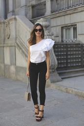 top,tumblr,white top,one shoulder,asymmetrical,denim,jeans,black jeans,sandals,sandal heels,high heel sandals,velvet,velvet sandals,ruffle,ruffled top,bag