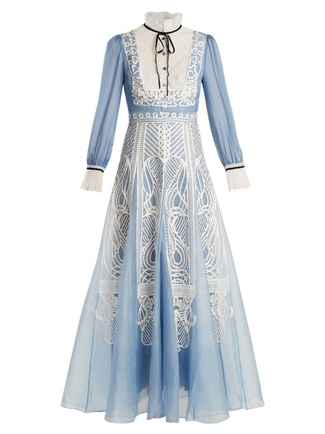 Temperley London dress silk dress embellished lace silk white blue