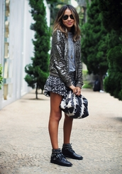 sincerely jules,blogger,jacket,baseball jacket,sequins,bag,skirt,studded shoes,sequin jacket,spring jacket