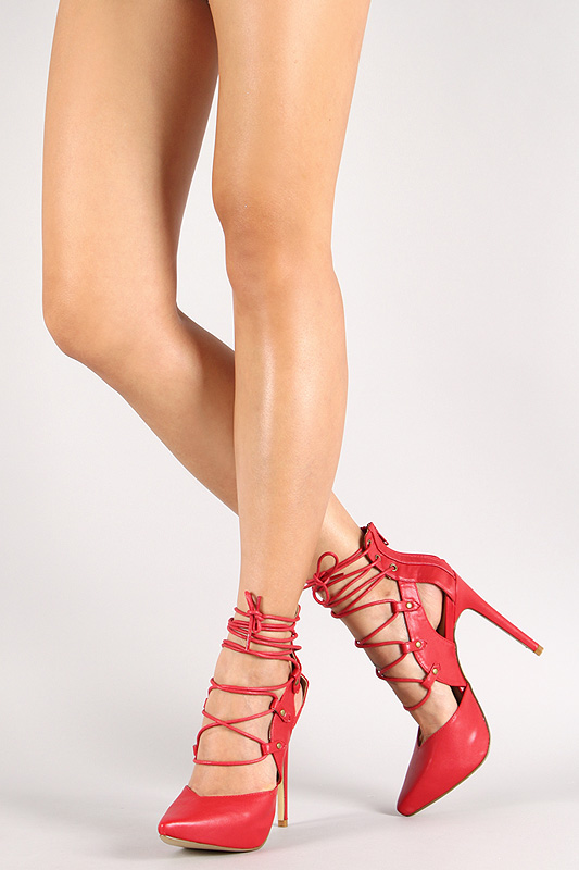 Liliana Doris-3 Lace Up Pointy Toe Pump