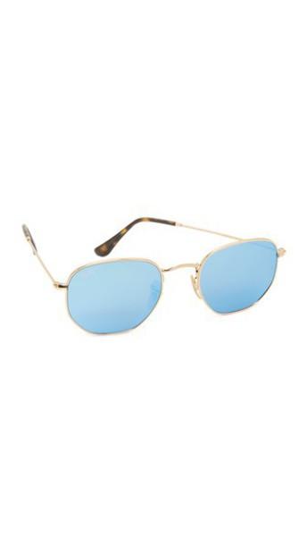 Ray-Ban Octagon Mirrored Sunglasses - Gold/Light Blue