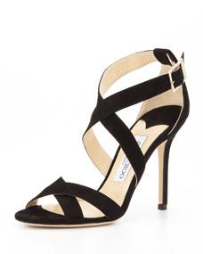 Lottie Suede Crisscross Sandal, Black