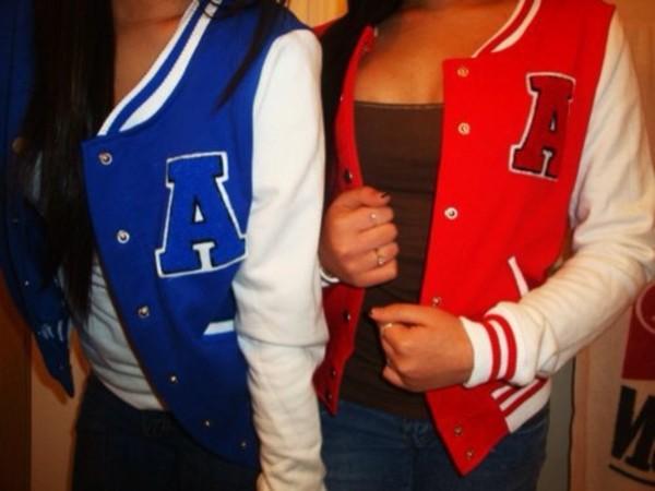 jacket university red blue coat