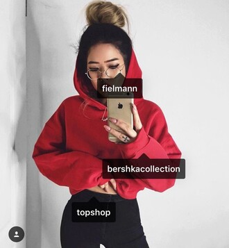 sweater pullover red cropped bershka sweatshirt