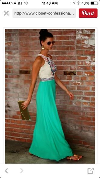 dress tribal print dress turquoise dress white dress cute dress girly dress summer dress