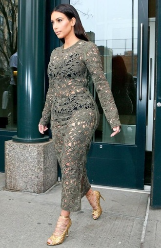 dress olive green sheer lace dress kim kardashian midi dress crochet dress