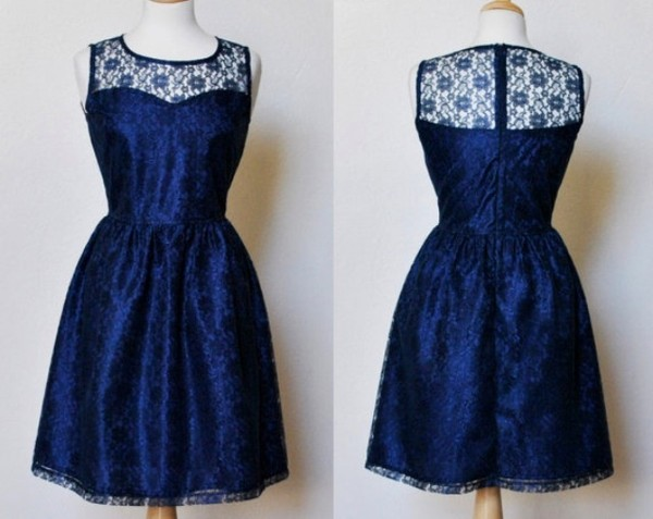 dress royal blue sweetheart dress vintage lace dress blue dress