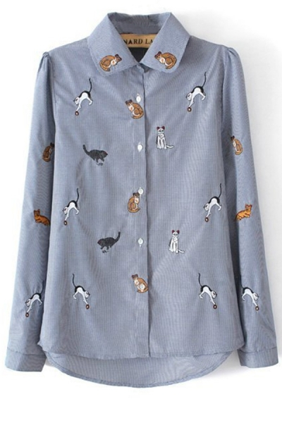 Cat Embroidered Button-up Shirt - OASAP.com