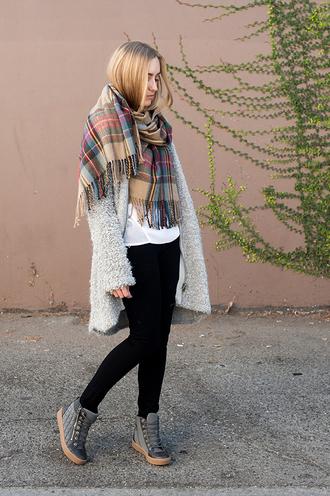 blogger grey coat eat sleep wear tartan scarf high top sneakers
