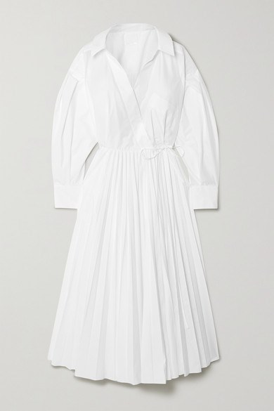 Valentino - Pleated Cotton-blend Poplin Shirt Dress - White - Pleated Cotton-blend Poplin Shirt Dress