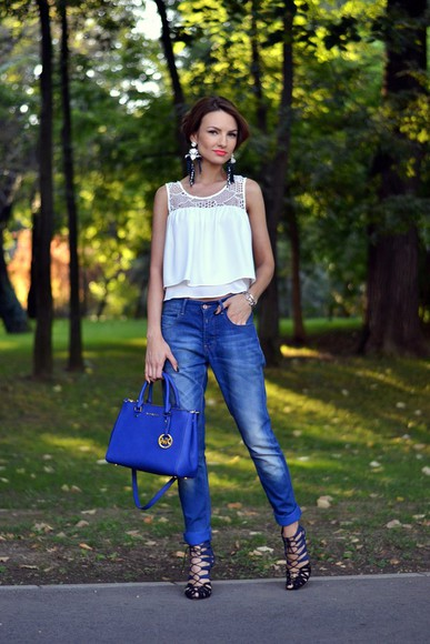 my silk fairytale blogger shoes bag top jeans jewels