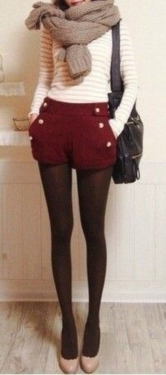 shorts burgundy cute red buttons winter outfits christmas hipster vintage black tights shirt bag shoes military burgundy deep red pretty fall outfits short shorts scarf white stripes striped shirt top long sleeves audrey hepburn high waisted shorts red shorts buttons on front high waisted sailor shorts leggings burgundy shorts cream red clothes styledumonde blogger