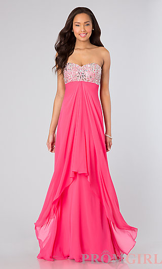 Strapless Empire Waist Gown, Empire Waist Prom Dresses- PromGirl