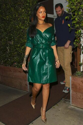 dress coat midi dress rihanna green dress green pumps wrap dress