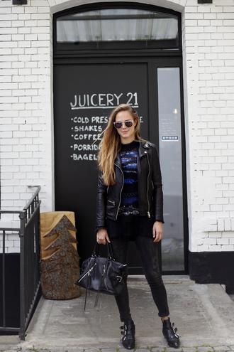 bonsoir cherie blogger jacket sweater shoes bag sunglasses