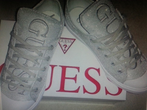 shoes guess silver 2013 snekers giltters sexy