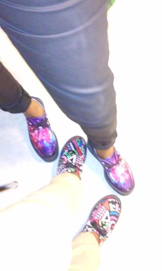 shoes creepers galaxy print design platform shoes aztec bright colored tall