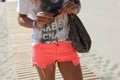 t-shirt,sweater,shorts,neon,orange,pants