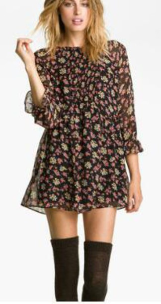 dress floral dress free people long sleeve dress