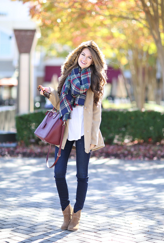 southern curls and pearls blogger shoes scarf jewels jacket t-shirt jeans bag make-up hooded winter coat burgundy tartan plaid scarfs tartan scarf