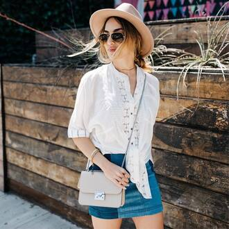shirt tumblr white shirt denim denim skirt mini skirt bag nude bag sunglasses skirt