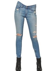 Destroyed skinny fit denim capri jeans