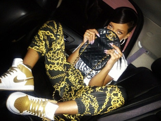 pants rihanna leggings gold chain