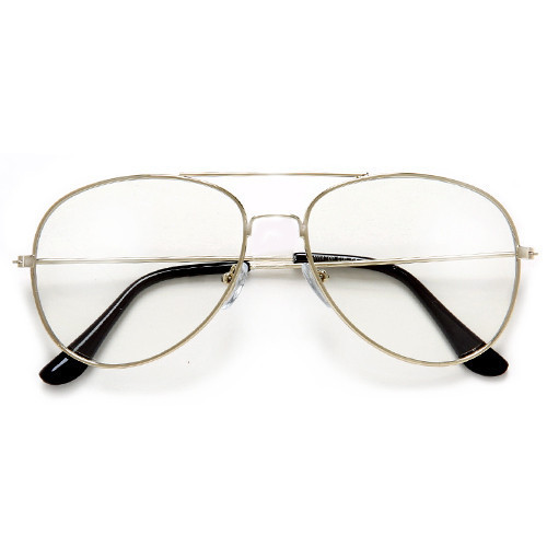 Gold Clear Aviator Glasses