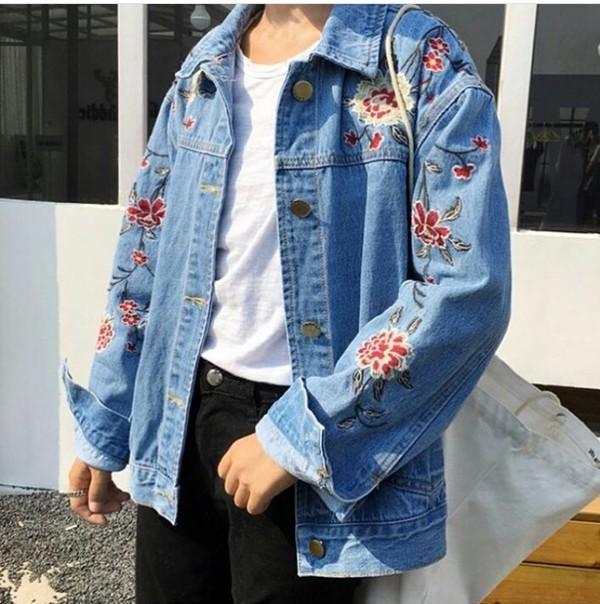 jacket embroidered girly blue denim jacket denim floral flowers tumblr