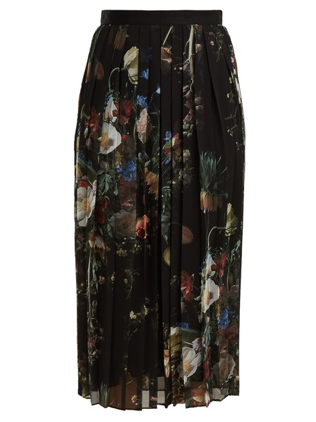 Adam Lippes skirt midi skirt chiffon pleated midi floral print black