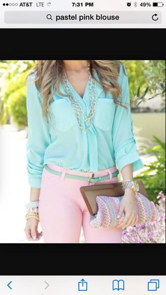 blouse aqua pink pastel pants pastel