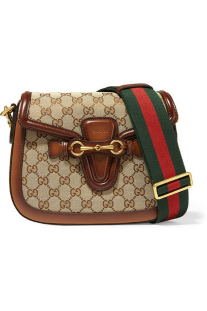 d6b174fd5c384e Gucci - Lady Web Medium Leather-trimmed Coated Canvas Shoulder Bag -  Chocolate