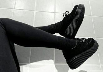 shoes black laces platform shoes