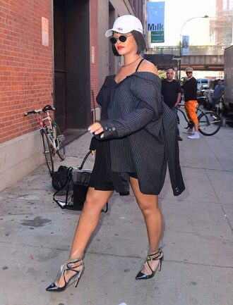 shirt shirt dress rihanna pumps fall outfits streetstyle oversized hat cap