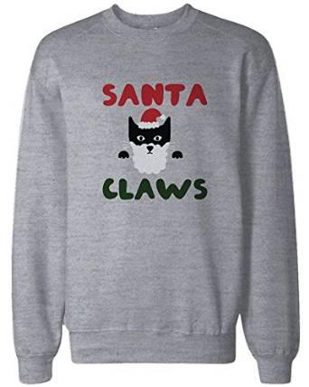 443a76e2 Santa Claws Funny Holiday Sweatshirt Cute Christmas Pullover ...