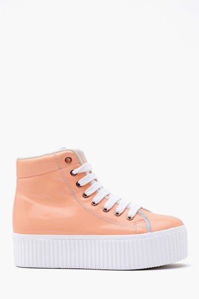 beb4bcaf712 high top sneakers flatforms peach high top sneakers platform shoes platform  sneakers