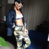 pants,dope fit,rihanna,chanel sunglasses,jacket,tights