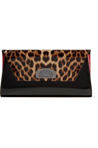 leather clutch clutch leather print black bag