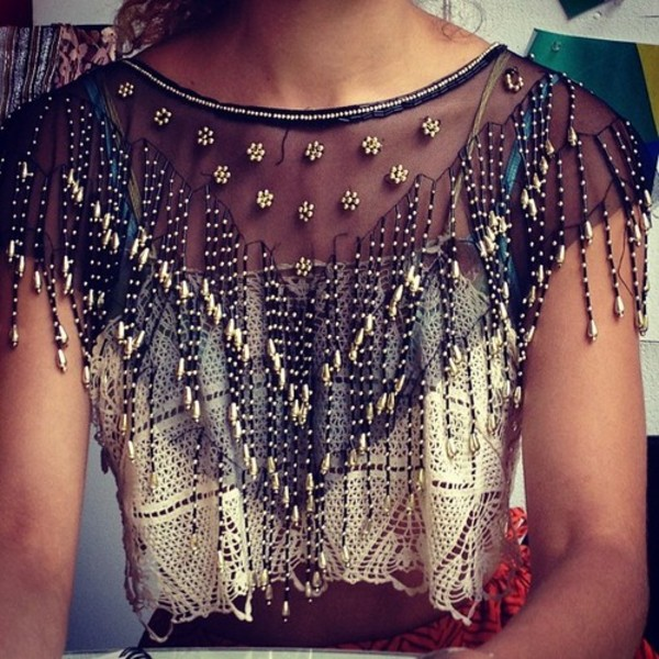 blouse beaded see through crop tops black and white embellished top shirt top cropped lace silk instagram sheer cover up boho bohemian hippie