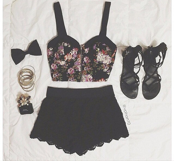bow bows black shorts tank top bralette clothes sandals bracelets perfume chanel