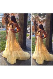dress,yellow dress,yellow prom dresses,two piece dress set,2 piece skirt set,lace dress,lace prom dress