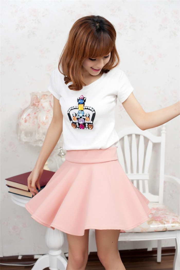 Fashion Women's Girl's Candy Color Stretch Waist Pleated Jersey Plain Skater Flared Mini Skirts Casual Cotton Blend Skater Skirt-in Skirts from Apparel & Accessories on Aliexpress.com