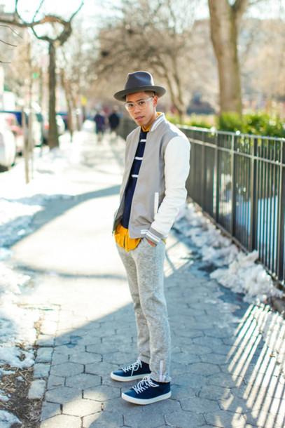 Closet Freaks Blogger Striped Sweater Baseball Jacket Menswear Mens Jacket  Grey Sweatpants Mens Baseball Jacket Jacket
