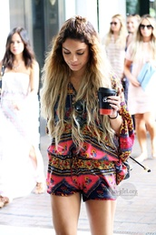 shorts,vanessa hudgens,blouse,jumpsuit,summer,dress,romper,flowy,hipster,coachella,celebrity style,celebrity,clothes,fluffy,jumper