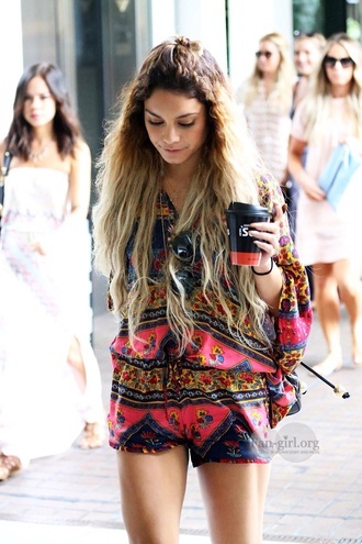 shorts vanessa hudgens blouse jumpsuit summer dress romper flowy hipster coachella celebrity style celebrity clothes fluffy jumper