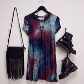 dress,clothes,tie dye,grunge,gypsy,t-shirt,black,red,DrMartens,burgundy,turquoise,blue,purple,shirt,oversized,punk,tye dye dress,shirt dress,90s style,bag