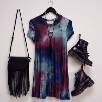 dress clothes tie dye grunge gypsy t-shirt black red drmartens burgundy turquoise blue purple shirt oversized punk tye dye dress shirt dress 90s style bag