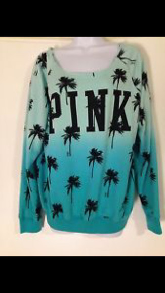 ombre crew neck sweater palm tree print victoria secret