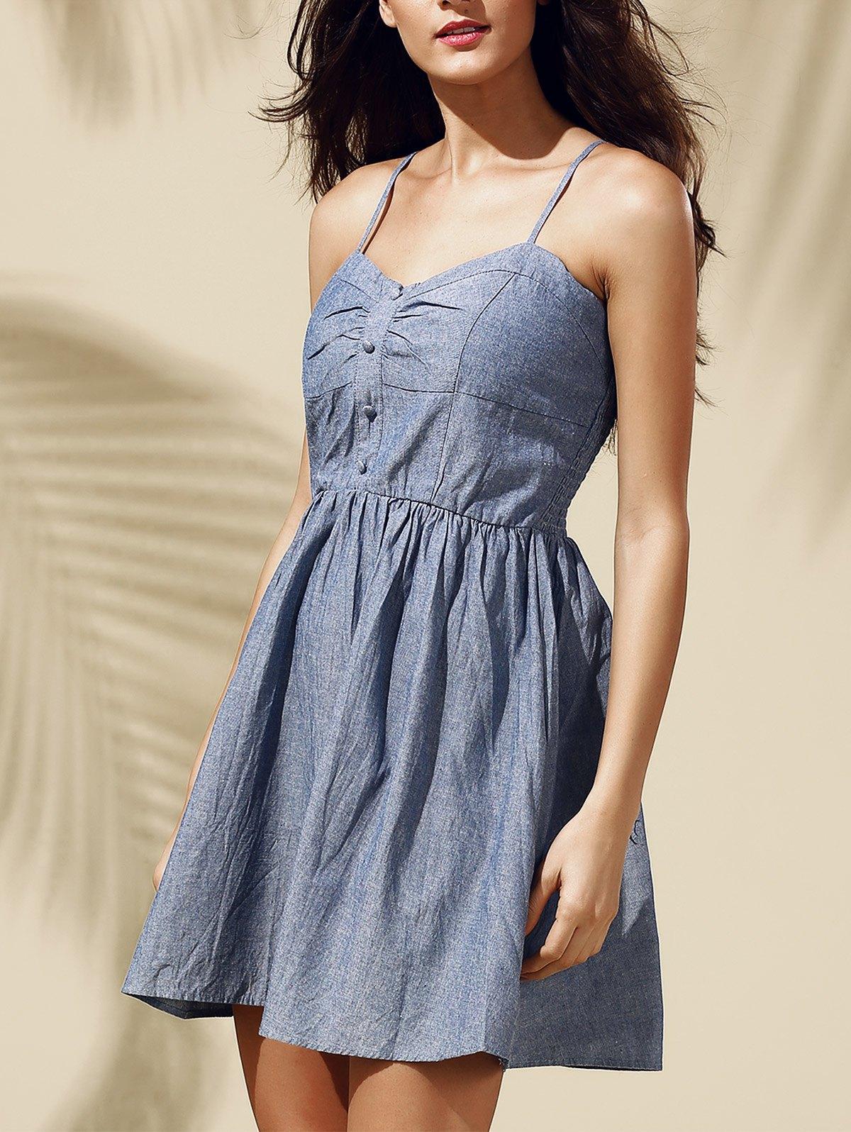 Sweet Buttoned High Waist Denim Dress For Women